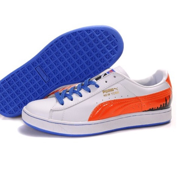 the latest 821d7 a4f8d Puma Suede White & Orange New York City Sneakers